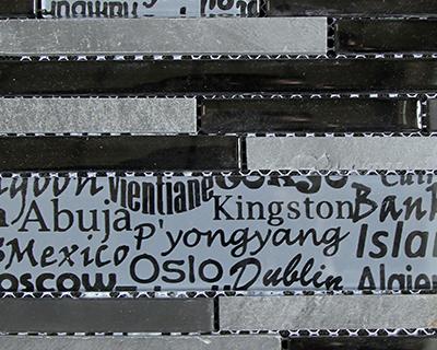 <strong>Mosaico de vidrio diseño Ciudades en negro y gris</strong> <h6>código LAS329</h6>