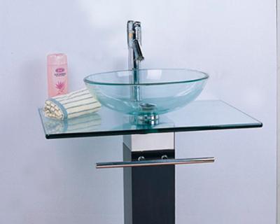 <strong>Bacha Ibiza, mesada en vidrio y pie de metal combinado</strong> <h6>código A0112</h6>